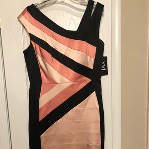 Colorblocked Satin Cocktail/Party Dress by Jax.
